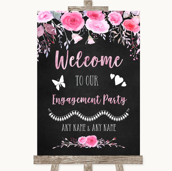 Chalk Style Watercolour Pink Floral Welcome To Our Engagement Party Wedding Sign