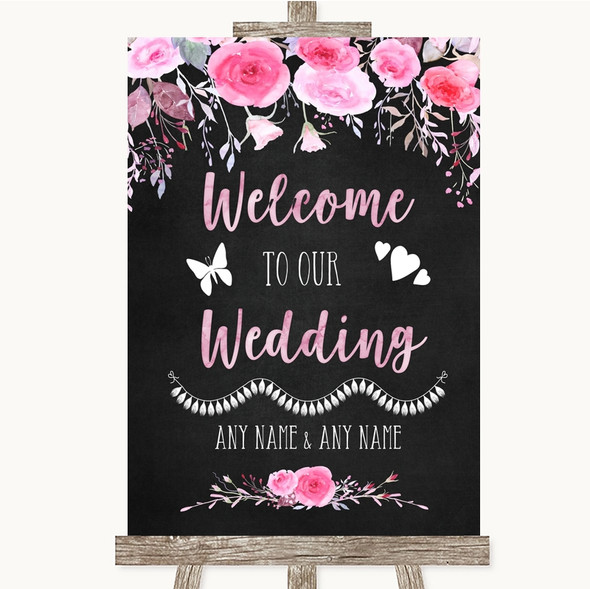 Chalk Style Watercolour Pink Floral Welcome To Our Wedding Sign