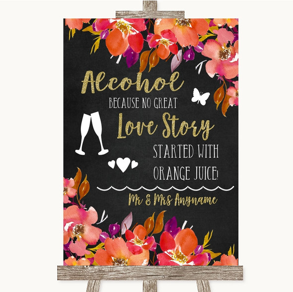 Pink Coral Orange & Purple Alcohol Bar Love Story Personalised Wedding Sign