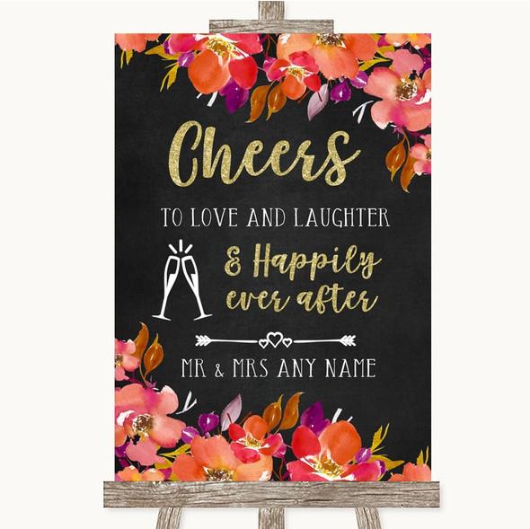 Pink Coral Orange & Purple Cheers To Love Personalised Wedding Sign