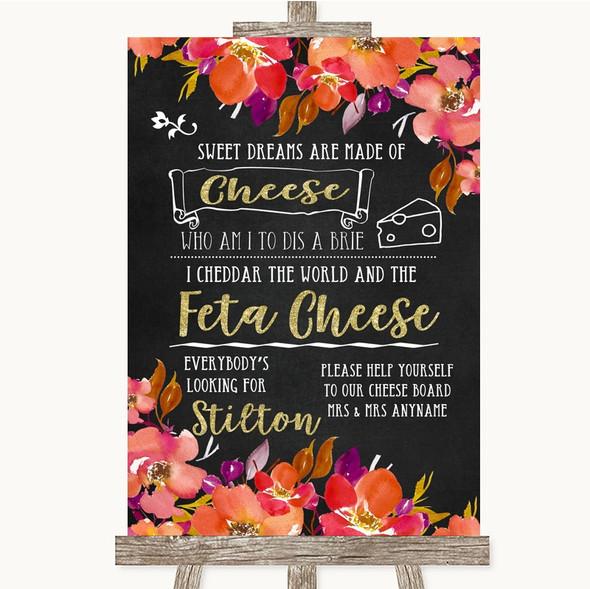 Pink Coral Orange & Purple Cheeseboard Cheese Song Personalised Wedding Sign