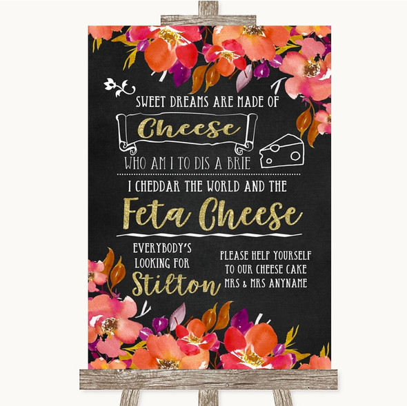 Pink Coral Orange & Purple Cheesecake Cheese Song Personalised Wedding Sign