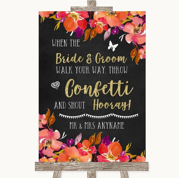 Pink Coral Orange & Purple Confetti Personalised Wedding Sign
