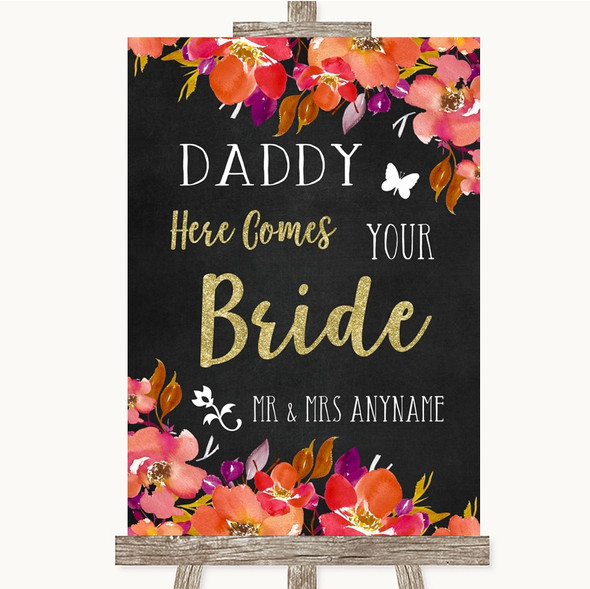 Pink Coral Orange & Purple Daddy Here Comes Your Bride Personalised Wedding Sign