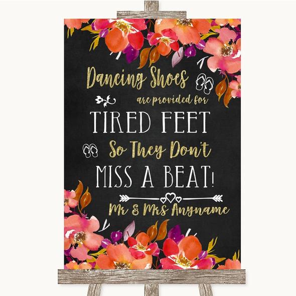 Pink Coral Orange & Purple Dancing Shoes Flip-Flop Tired Feet Wedding Sign