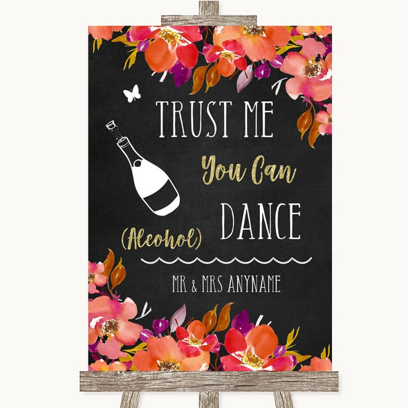 Pink Coral Orange & Purple Alcohol Says You Can Dance Personalised Wedding Sign