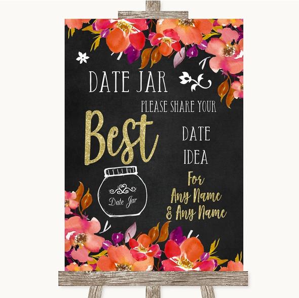 Pink Coral Orange & Purple Date Jar Guestbook Personalised Wedding Sign