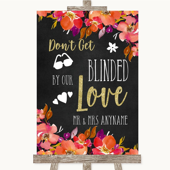 Pink Coral Orange & Purple Don't Be Blinded Sunglasses Personalised Wedding Sign