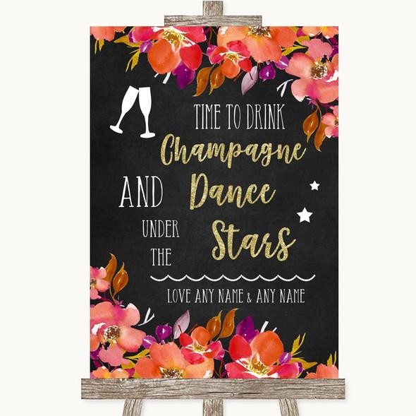 Pink Coral Orange & Purple Drink Champagne Dance Stars Personalised Wedding Sign