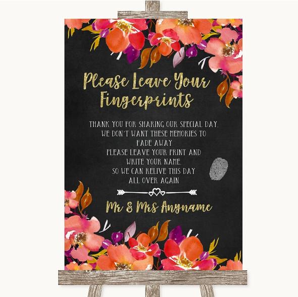 Pink Coral Orange & Purple Fingerprint Guestbook Personalised Wedding Sign