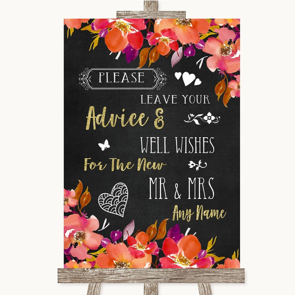 Pink Coral Orange & Purple Guestbook Advice & Wishes Mr & Mrs Wedding Sign