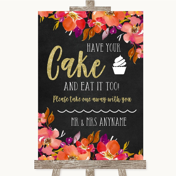 Pink Coral Orange & Purple Have Your Cake & Eat It Too Personalised Wedding Sign