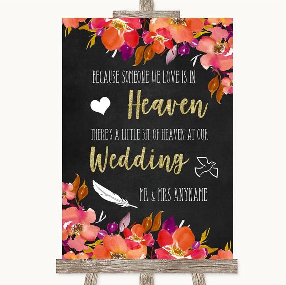 Pink Coral Orange & Purple Heaven Loved Ones Personalised Wedding Sign