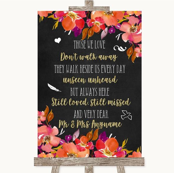 Pink Coral Orange & Purple In Loving Memory Personalised Wedding Sign