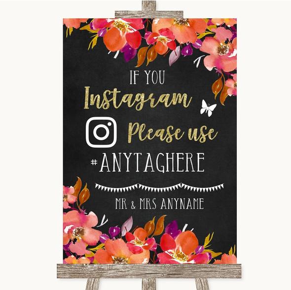 Pink Coral Orange & Purple Instagram Hashtag Personalised Wedding Sign