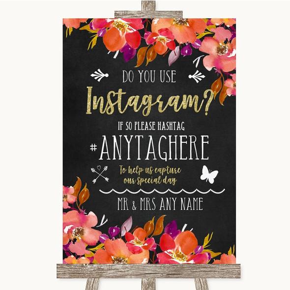 Pink Coral Orange & Purple Instagram Photo Sharing Personalised Wedding Sign