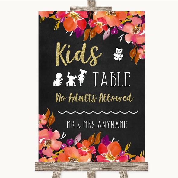 Pink Coral Orange & Purple Kids Table Personalised Wedding Sign