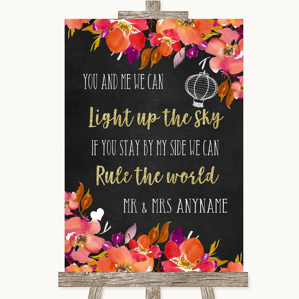Pink Coral Orange & Purple Light Up The Sky Rule The World Wedding Sign