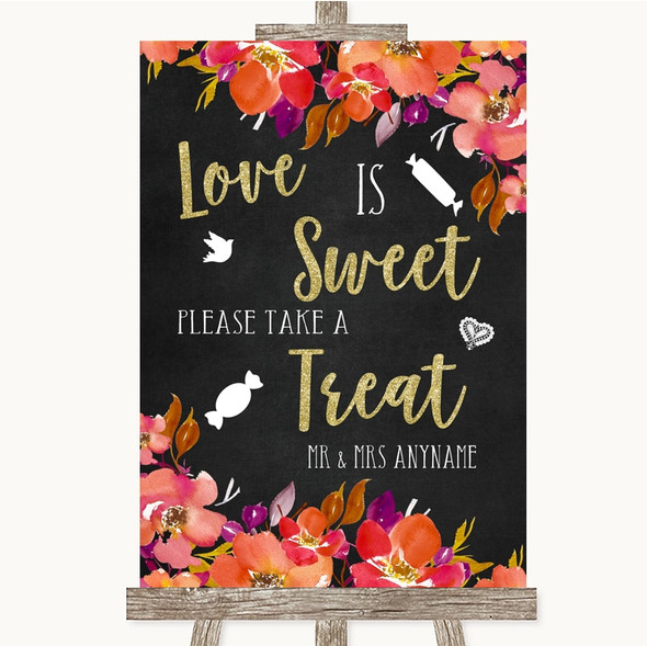 Pink Coral Orange & Purple Love Is Sweet Take A Treat Candy Buffet Wedding Sign
