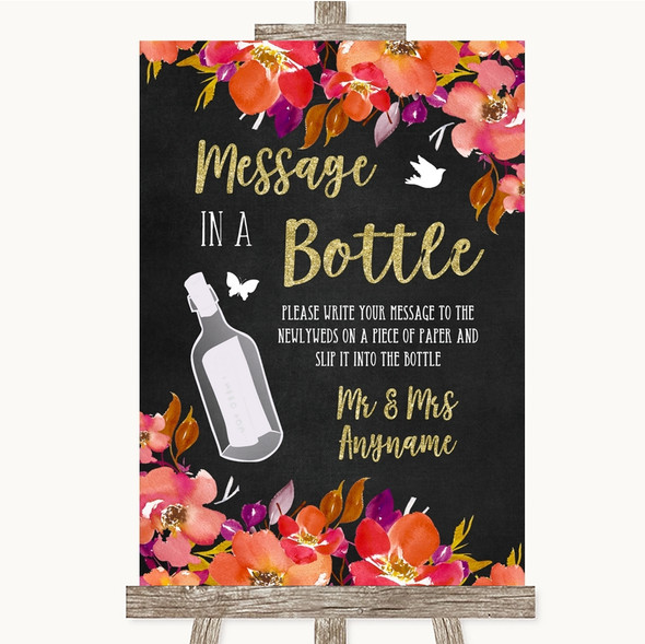 Pink Coral Orange & Purple Message In A Bottle Personalised Wedding Sign