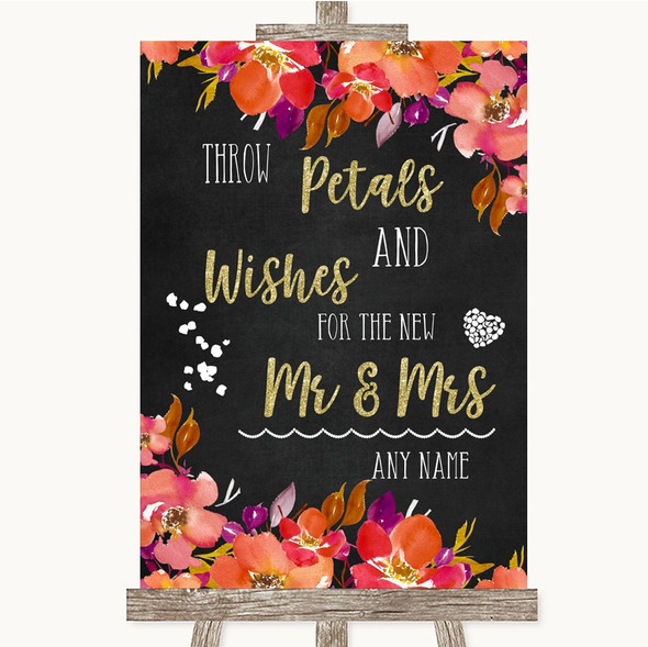 Pink Coral Orange & Purple Petals Wishes Confetti Personalised Wedding Sign
