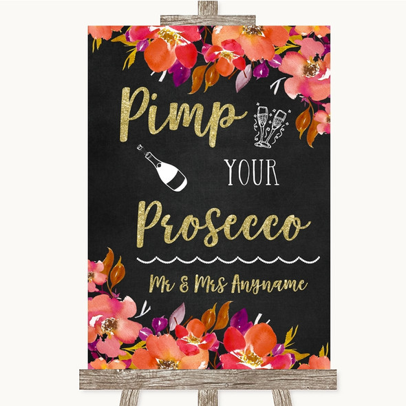 Pink Coral Orange & Purple Pimp Your Prosecco Personalised Wedding Sign
