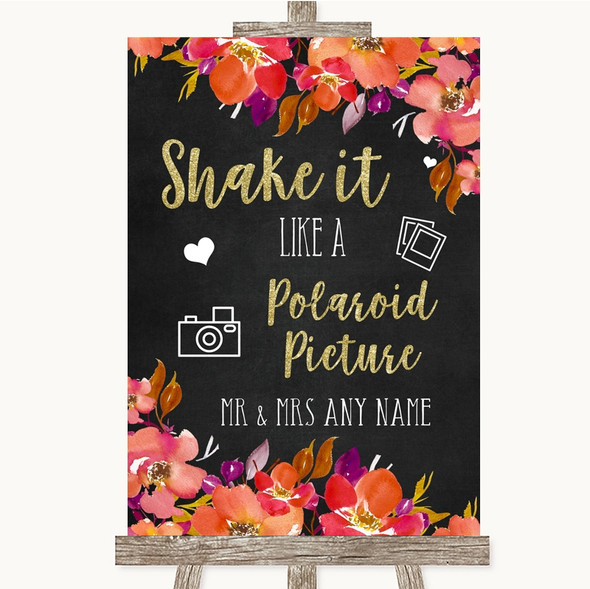 Pink Coral Orange & Purple Polaroid Picture Personalised Wedding Sign