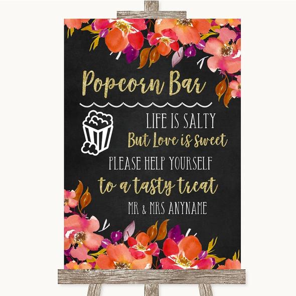 Pink Coral Orange & Purple Popcorn Bar Personalised Wedding Sign