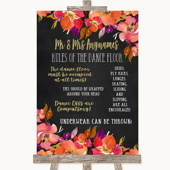 Pink Coral Orange & Purple Rules Of The Dance Floor Personalised Wedding Sign