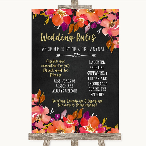 Pink Coral Orange & Purple Rules Of The Wedding Personalised Wedding Sign