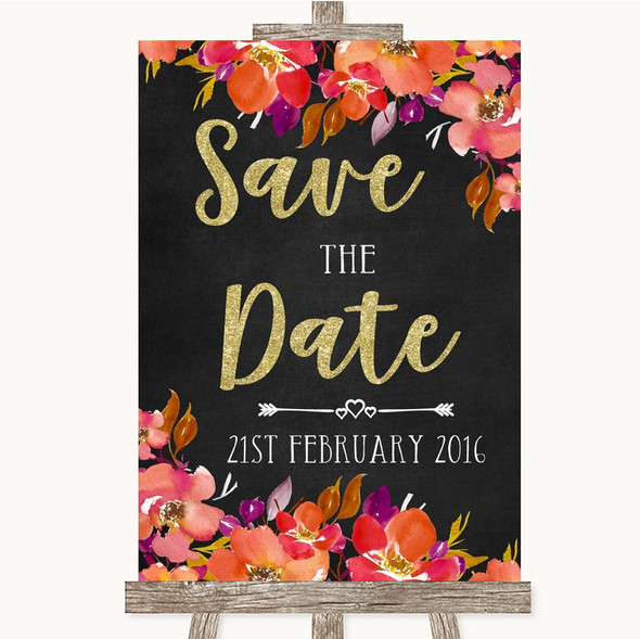 Pink Coral Orange & Purple Save The Date Personalised Wedding Sign
