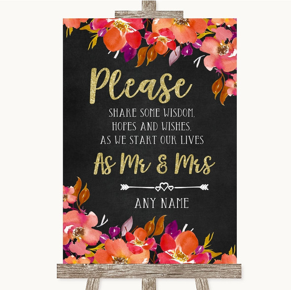 Pink Coral Orange & Purple Share Your Wishes Personalised Wedding Sign