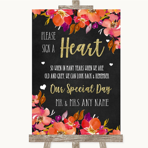 Pink Coral Orange & Purple Sign a Heart Personalised Wedding Sign
