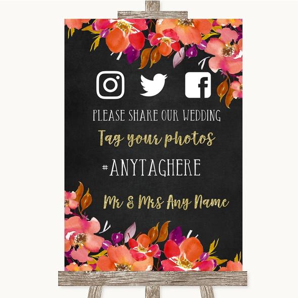 Pink Coral Orange & Purple Social Media Hashtag Photos Personalised Wedding Sign