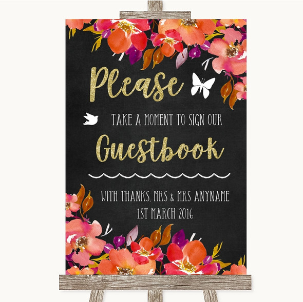 Pink Coral Orange & Purple Take A Moment To Sign Our Guest Book Wedding Sign