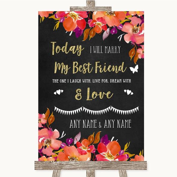 Pink Coral Orange & Purple Today I Marry My Best Friend Wedding Sign