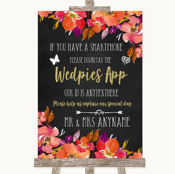 Pink Coral Orange & Purple Wedpics App Photos Personalised Wedding Sign