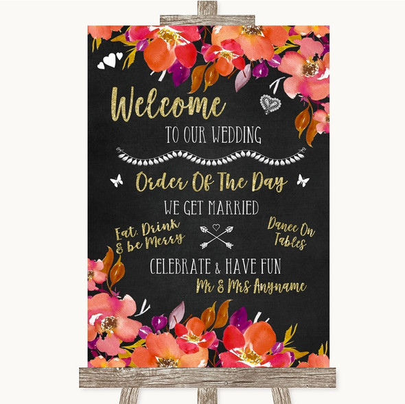 Pink Coral Orange & Purple Welcome Order Of The Day Personalised Wedding Sign