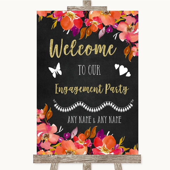 Pink Coral Orange & Purple Welcome To Our Engagement Party Wedding Sign