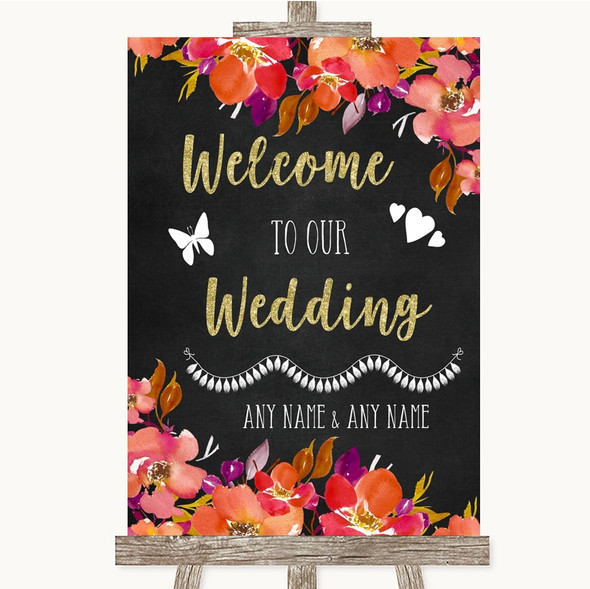 Pink Coral Orange & Purple Welcome To Our Wedding Personalised Wedding Sign