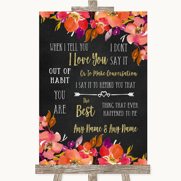 Pink Coral Orange & Purple When I Tell You I Love You Personalised Wedding Sign