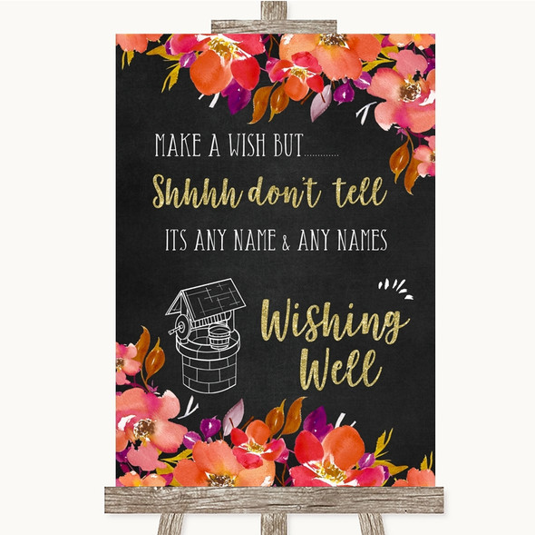 Pink Coral Orange & Purple Wishing Well Message Personalised Wedding Sign