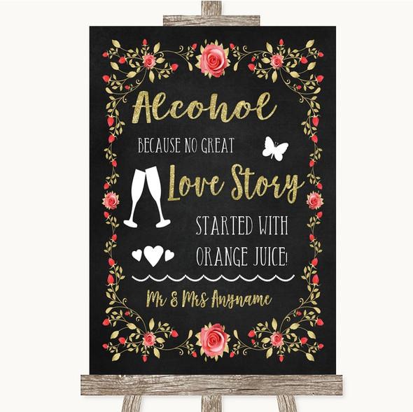 Chalk Style Blush Pink Rose & Gold Alcohol Bar Love Story Wedding Sign