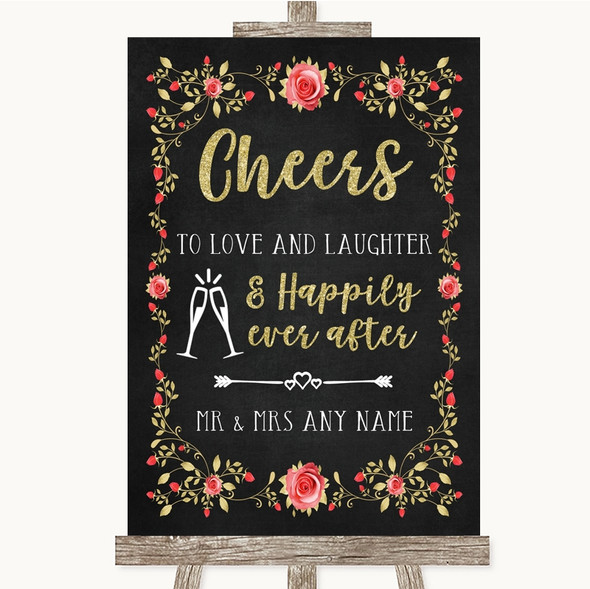 Chalk Style Blush Pink Rose & Gold Cheers To Love Personalised Wedding Sign