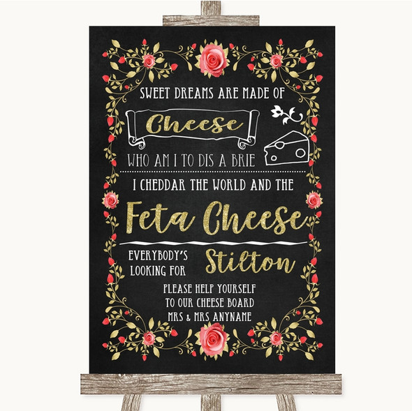 Chalk Style Blush Pink Rose & Gold Cheeseboard Cheese Song Wedding Sign