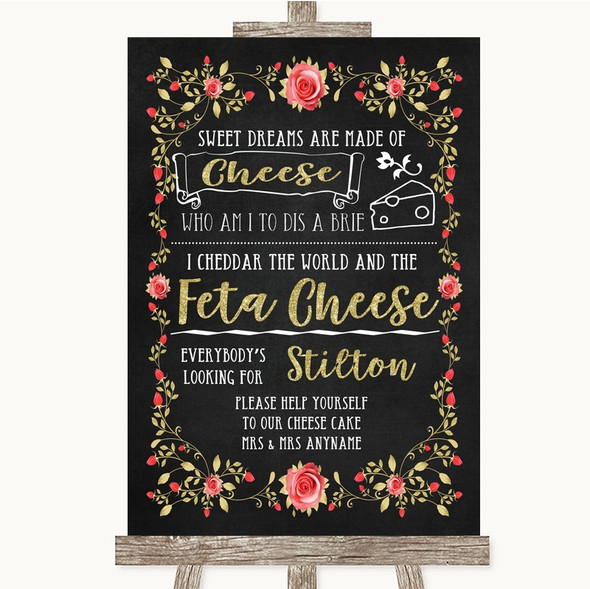 Chalk Style Blush Pink Rose & Gold Cheesecake Cheese Song Wedding Sign