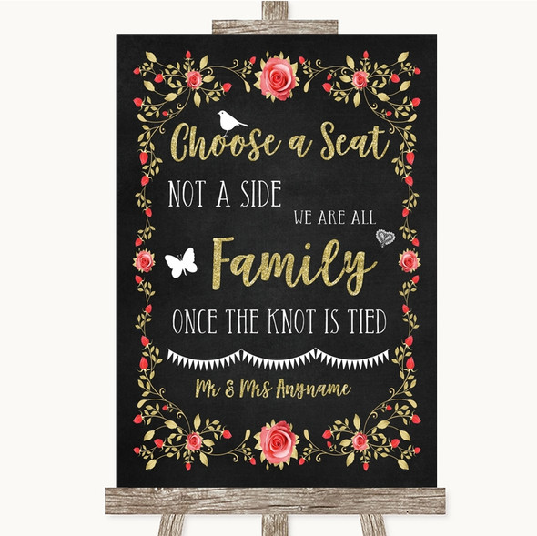 Chalk Style Blush Pink Rose & Gold Choose A Seat We Are All Family Wedding Sign