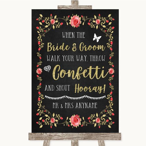 Chalk Style Blush Pink Rose & Gold Confetti Personalised Wedding Sign