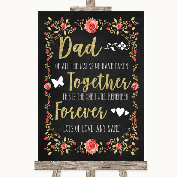 Chalk Style Blush Pink Rose & Gold Dad Walk Down The Aisle Wedding Sign