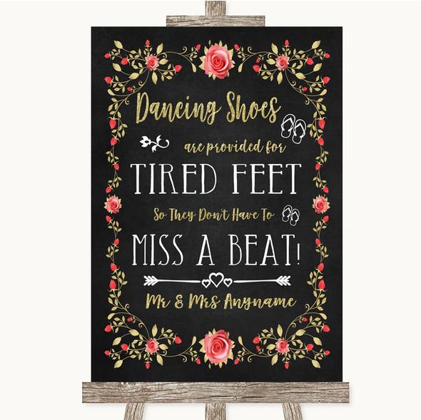 Chalk Blush Pink Rose & Gold Dancing Shoes Flip-Flop Tired Feet Wedding Sign